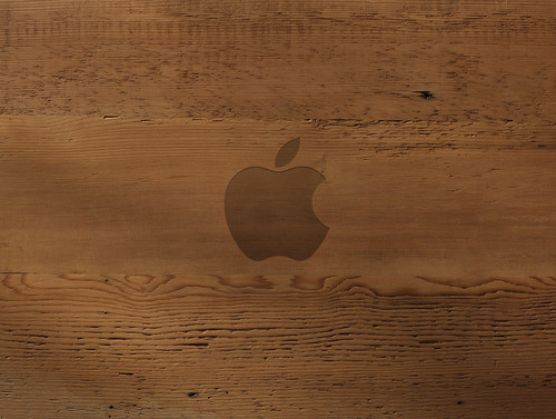 wallpaper wood grain. Apple Wood Grain Carved Logo
