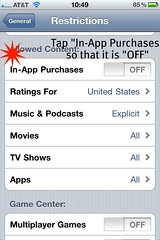 "Step 6: Tap ""In-App Purchases to that it is ""OFF"""