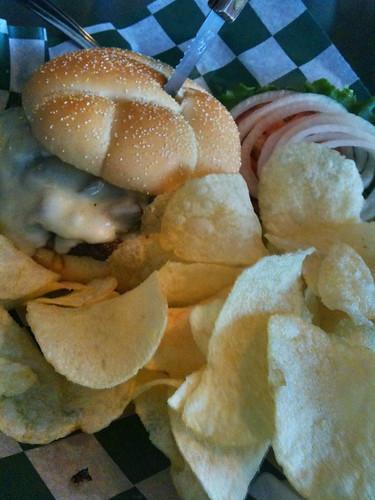 Hazel Dell Brew Pub Mushroom Swiss burger