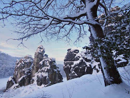 Externsteine at the Winter Solistice - Externsteine zur Wintersonnenwende - Copyright by Martin Liebermann