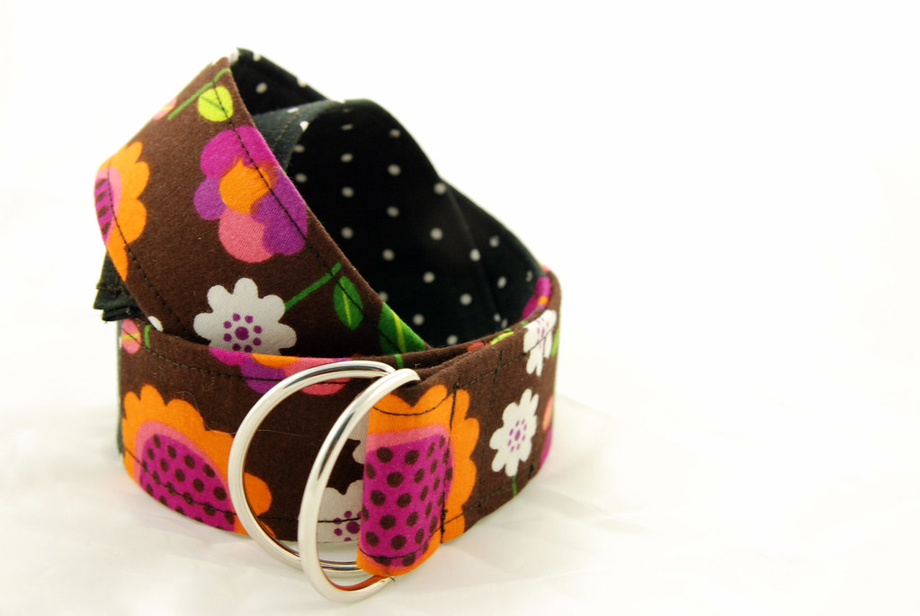 Girl's Fabric Belt - Children's & Teens adjustable D-ring fabric belt in black dot and brown flower