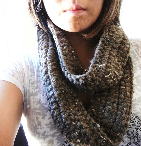 thick wool crocheted scarf