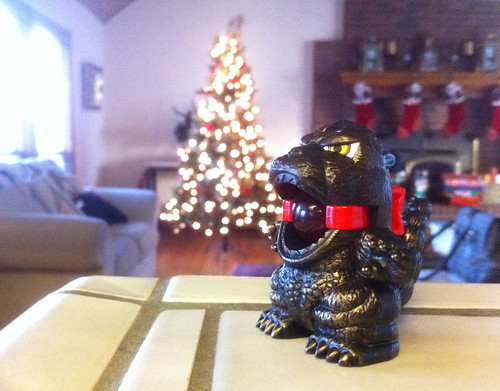 Ballgag Godzilla attacks Christmas tree