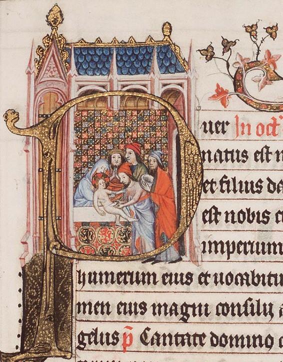De besnijdenis van het Christus-kind door een priester in de tempel (detail)
