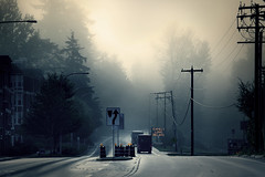Expect long delays (sparth) Tags: seattle blue trees mist fog grey washington long moody foggy ups telephoto redmond trucks delays brouillard atmospheric expect myst expectlongdelays