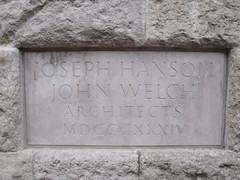 Photo of Joseph Aloysius Hansom and John Welch stone plaque