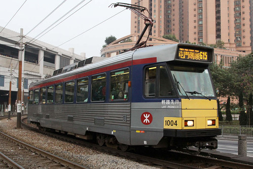 "Phase 1 LRV 1004 named ""LRT Pioneer"" departs Yuen Long station on route 615"