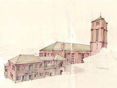 Südkirche Esslingen (Flaf) Tags: 1920s colour church water architecture pencil drawing kirche florian esslingen elsaesser pfarrhaus martinn expressionimus pliensauvorstadt afflerbach