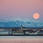 Borgarnes under a full Moon, west Iceland