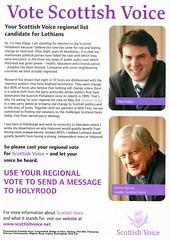 Scottish Voice Election Leaflet, Scottish Elections 2007 (Scottish Political Archive) Tags: scotland election stirling scottish edgar leader publicity campaign lothian 2007 scottishvoice