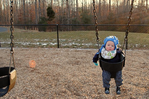 Sammy's first time on the swings