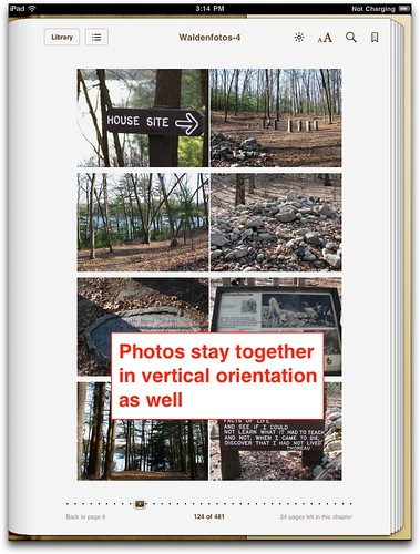 Photo table - vertical orientation iBooks 1.2