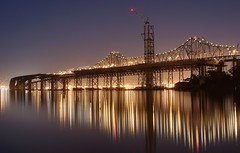 [Free Image] Architecture/Building, Bridge, Night View, United States of America, California, 201103131900
