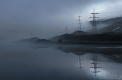 Mist over Reservoir (pixiepic's) Tags: mist water reflections reservoir hills pylons woodhead platinumheartaward rubyphotographer