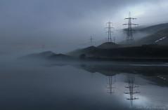 Mist over Reservoir (pixiepic's) Tags: mist water reflections reservoir hills pylons woodhead platinumheartaward rubyphotographer