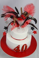 Sara's 40th (Sugarandslice (Emma)) Tags: red white black glass stars 40th feathers numbers 40 bling figurine diamontes