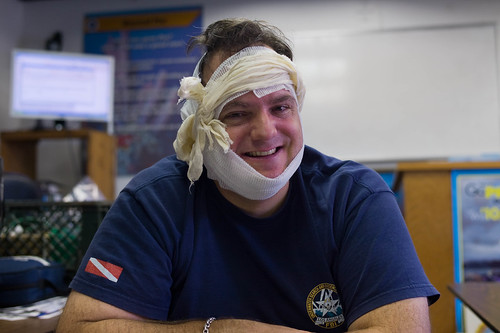Grant after my bandaging exercise for my EFRI course