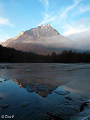 Lake  Vedana and reflection (Dora Joey) Tags: sunset mountain lake reflection landscape lago tramonto montagna paesaggio dolomites belluno dolomiti ghiaccio riflesso veneto vedana