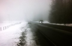 Route 30 near Bromley (Emily Taliaferro Prince) Tags: road travel winter shadow sky snow car fog clouds highway vermont