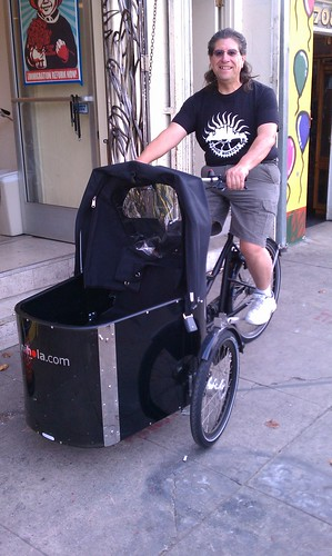 Carlos Morales of the Eastside Bike Club on a Nihola at Flying Pigeon LA