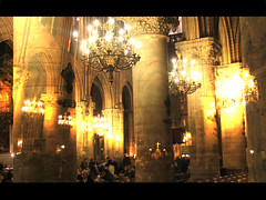 Illumination (Lolo_) Tags: people paris church lights office pray notredame montage messe glise lumires cathedrale superposition lustres