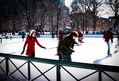 The iceskaters {explored} (FelipeI) Tags: winter snow ice boston massachusetts skate frogpond bostoncommon iceskater mygearandme