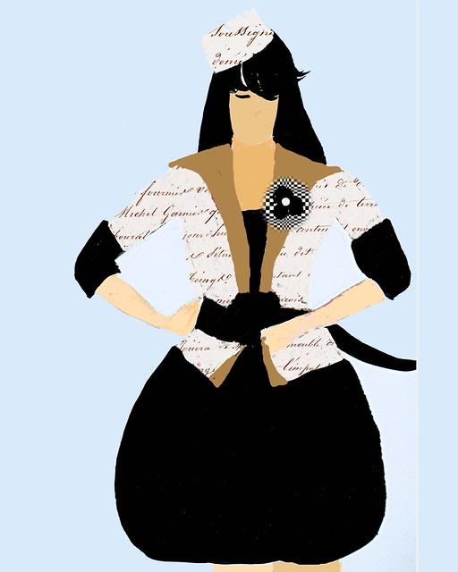 vintage runway french script black dress