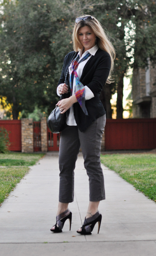 cropped pants with a white button down and black cardigan, nicholas kirkwood shoes, vintage scarf, ferragamo bag, long blonde hair, strawberry blonde hair, tom ford sunglasses, los angeles blogs, DSC_0050