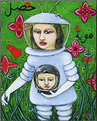 """To Recover, Identity,"" from the Women in Space collection by Catherine Eyde, in which a woman in a spacesuit and helmet carries a disembodied head in a helmet among blue vines and fuchsia flowers against a green background"