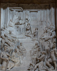 Pope St Pius V defends Christendom (Lawrence OP) Tags: pius saints piusv pope dominican santamariamaggiore tomb altorelief marble carving lepanto holyleague