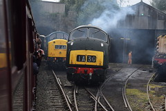 345 and D832 at Bury (colin9007) Tags: east lancashire railway diesel gala english electric class 40 type 4 wr hydraulic maybach br swindon warship 42 d832 onslaught cfps 345 40145 d345