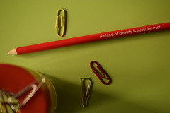 Beauty is truth... (mi ne volimo alu) Tags: macromondays pencil paperclips red yellow green abstract asymmetry stillife office pencilspenserasersandorpaperclips johnkeats poetry art beauty joy composition text writing bright
