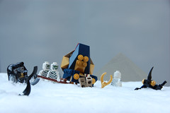 """I'm not digging him out."" (Catsy [CC]) Tags: snow lego pyramid pharaoh mummy scarab moc palanquin catsy brickarms pharaohsquest flickr:user=catsy lego:scale=minifig amsetra lego:theme=pharaohsquest"