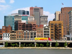 Wood Street buildings, the Monongahela Wharf, and a red-and-yellow Giant Eagle truck make this a very Pittsburgh pic (pdtoth) Tags: summer reed glass station architecture modern century turn buildings river square three downtown pittsburgh skyscrapers fort pennsylvania steel towers victorian smith pa rivers law mon tall pitt firm monongahela 2010