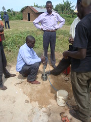 Bumang'ale Nursery School well-attachment of electric wire to GI pipes during test pumping