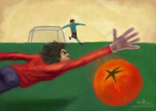 digital illustration of soccer tomato illustration - small