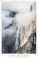Upper Yosemite Fall and Lost Arrow, Autumn Storm Clouds (G Dan Mitchell) Tags: california park travel autumn trees cliff usa mist mountain storm fall nature water rain weather fog clouds america forest season landscape lost nevada north stock scenic sierra spire ridge upper national valley yosemite arrow range swirlface