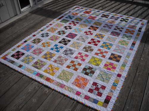 9-patch quilt after washing/drying