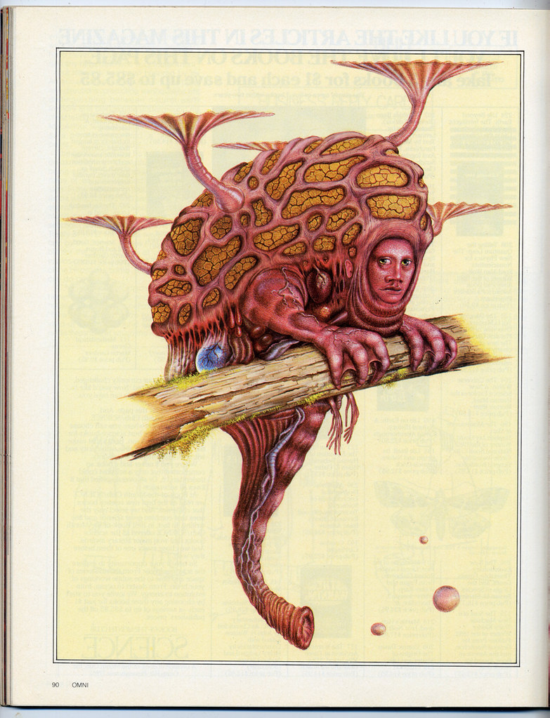 Dougal Dixon - Visions Of Man Evolved Article Illustration 1 - Omni Magazine November 1982