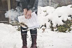 Stop and Smell the Smoke (evilibby) Tags: winter snow cold girl garden paper lyrics hands hand boots pages smoke letters fingers books burning burn human papers page letter libby 365 docs drmartens clutching dms 365days 3653 lettinggoofthepast holdingontothepast