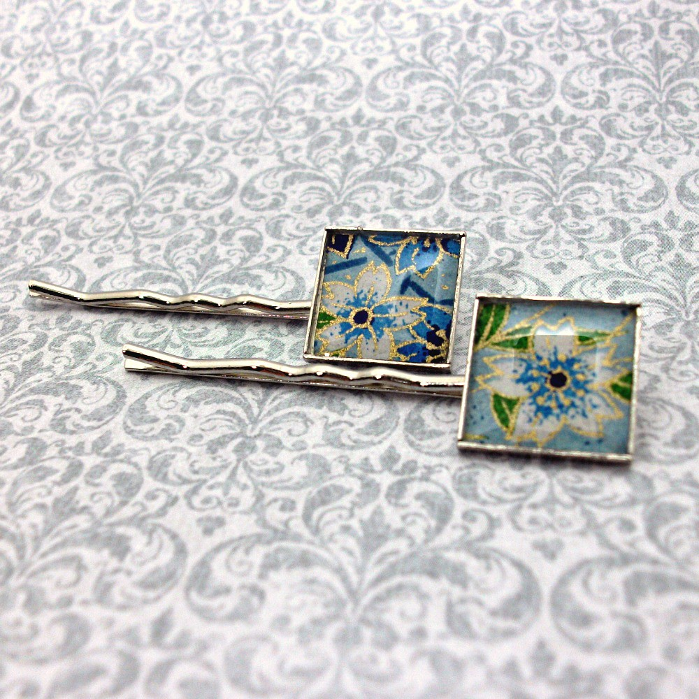 Chiyogami Bobby Pins - Blue Flowers - Hand Poured Resin