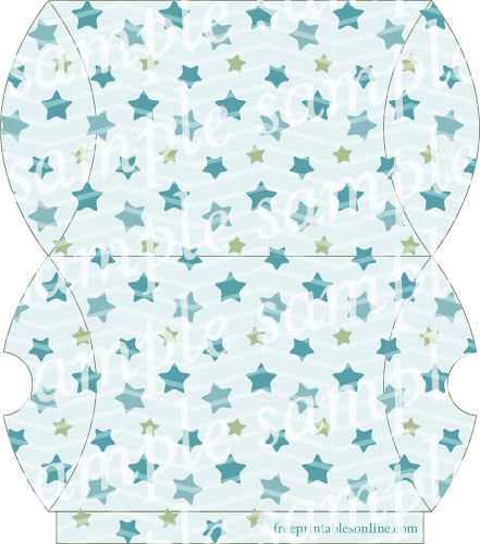 Blue Starry Printable Pillow Box