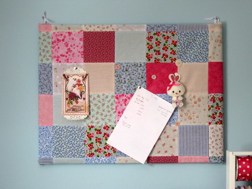 Patchwork covered bulletin board