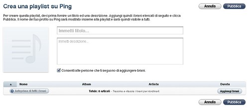 Crea una Playlist su Ping