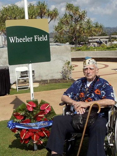 Pearl Harbor Survivor William Bill Temple at Wheeler Field Honolulu, Hawaii
