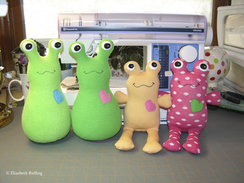 Fleece Hug Me! Slugs and Hug Me Sock Toads by Elizabeth Ruffing