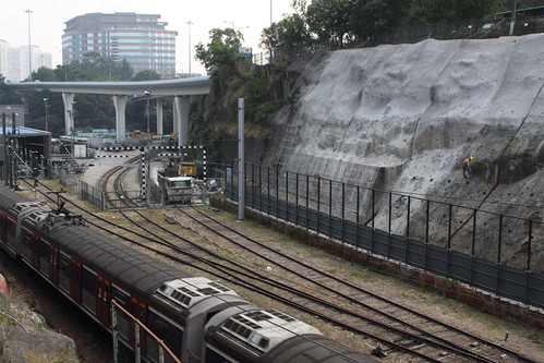 Slope improvement works beside the East Rail Line at Ho Man Tin
