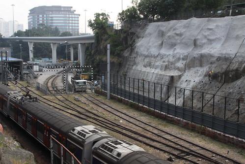Slope improvement works beside the East Rail Line at Ho Man Tin