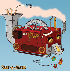 Sant-A-Matic (Blazeldude) Tags: santa christmas toys robot holidays father pipes machine replacement steam orphans presents sleigh gears claud steampunk crimbo substitute