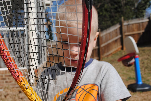 Rylan through the tennis racket
